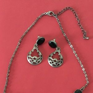 Black & silver earrings & matching necklace